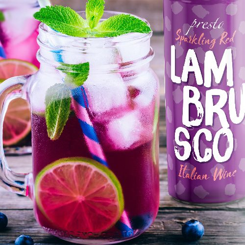 Presto Lambrusco can with sangria cocktail