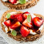 Strawberry balsamic toasts with ricotta cheese