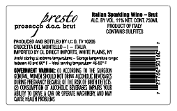 Presto Prosecco back label